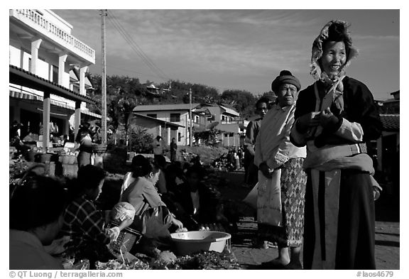 Women in tribal clothes at the Huay Xai market. Laos (black and white)