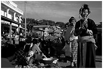 Women in tribal clothes at the Huay Xai market. Laos ( black and white)