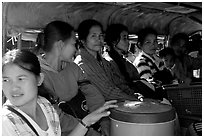 Women ride a bus, Huay Xai. Laos ( black and white)