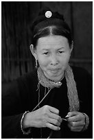 Woman of the Lao Huay tribe in Ban Nam Sang village. Laos ( black and white)