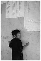 Girl of the Lao Huay tribe, Ban Nam Sang village. Laos ( black and white)