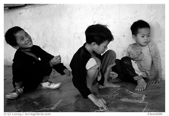 Boys of the Lao Huay tribe, Ban Nam Sang village. Laos (black and white)