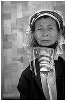 Old Padaung Woman,  Kalaw. Shan state, Myanmar (black and white)