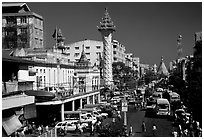 Mahabandoola Lan and the Sule Paya. Yangon, Myanmar (black and white)