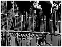 Monks in residential quarters, Shwedagon Paya. Yangon, Myanmar ( black and white)