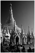 Praying at Planetery post, the Shwedagon Paya. Yangon, Myanmar (black and white)