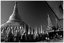 The great golden dome, Shwedagon Paya. Yangon, Myanmar (black and white)