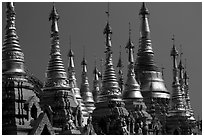 Skyline dominated by spires, Shwedagon Paya. Yangon, Myanmar ( black and white)