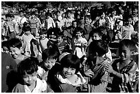 Children at a school. Mount Popa, Myanmar ( black and white)