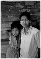 Young burmese woman and child. Bagan, Myanmar (black and white)