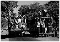 Crowded public busses. Mount Popa, Myanmar ( black and white)