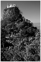 Complex of monestaries on a volcanic spire. Mount Popa, Myanmar ( black and white)