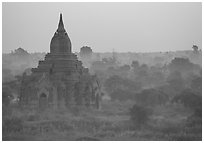 Pastel colors at dawn. Bagan, Myanmar ( black and white)