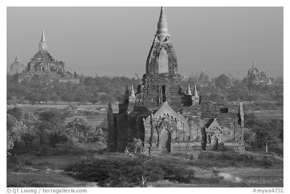 Ancient sacred city seen from Dhammayazika. Bagan, Myanmar (black and white)