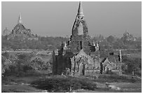 Ancient sacred city seen from Dhammayazika. Bagan, Myanmar ( black and white)