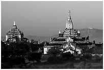Ananda and Thatbyinnyu pahtos. Bagan, Myanmar (black and white)