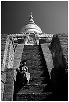 On steps of Shwesandaw Paya's upper terraces. Bagan, Myanmar ( black and white)