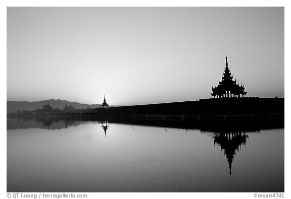 Sunrise on the Mandalay Fort moats. Mandalay, Myanmar (black and white)