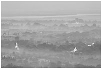 View from the hill through dawn mist. Mandalay, Myanmar ( black and white)