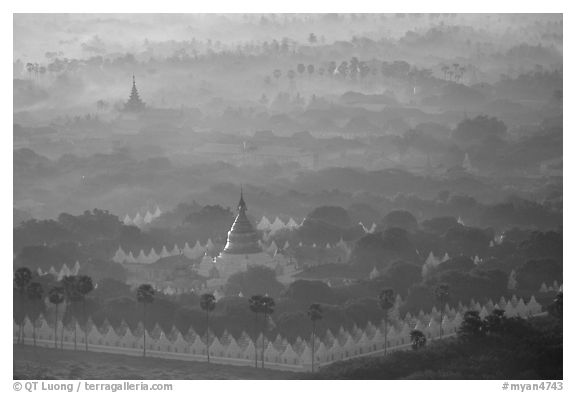 Kuthodaw Paya at sunrise. Mandalay, Myanmar (black and white)