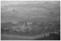 Kuthodaw Paya at sunrise. Mandalay, Myanmar ( black and white)