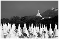 Stupas at Sandamani Paya and Mandalay Hill. Mandalay, Myanmar (black and white)
