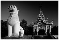 Lion at the entrance of  Mandalay Hill. Mandalay, Myanmar ( black and white)