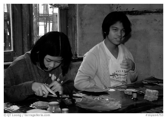 The golden leaves factory. Mandalay, Myanmar (black and white)