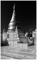 Sanctuary on Sagaing Hill. Mandalay, Myanmar ( black and white)
