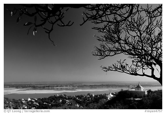 View from Sagaing Hill. Myanmar (black and white)