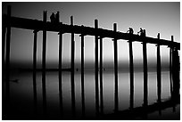 U Bein bridge at sunset, Amarapura. Mandalay, Myanmar ( black and white)