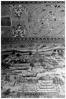 Fresco at Kyauktawgyi Paya, Amarapura. Mandalay, Myanmar ( black and white)