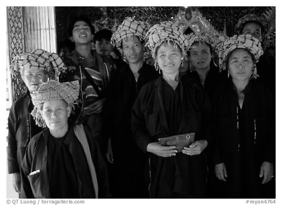 Women from Shan state visiting. Myanmar (black and white)