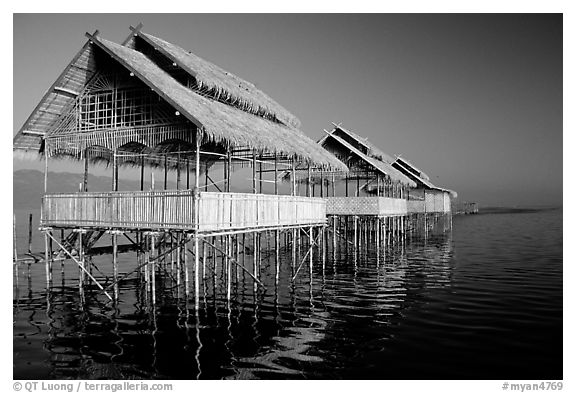 Huts on stilts in middle of lake. Inle Lake, Myanmar (black and white)