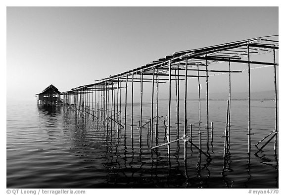 Stilts huts. Inle Lake, Myanmar (black and white)