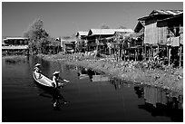 Village built on the lake. Inle Lake, Myanmar (black and white)