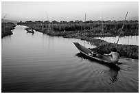 Floating gardens and village. Inle Lake, Myanmar (black and white)