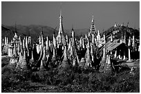 Stupas, Indein. Inle Lake, Myanmar (black and white)