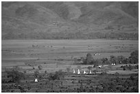 Stupas in the Heho plain. Shan state, Myanmar ( black and white)
