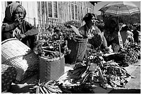 Vendors, Market in Kalaw. Shan state, Myanmar ( black and white)