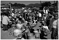 Kalow public market. Shan state, Myanmar (black and white)