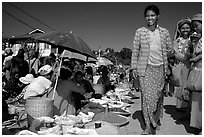 Market scene, Kalaw. Shan state, Myanmar ( black and white)