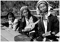 Three generations of Padaung women	singing. Shan state, Myanmar ( black and white)