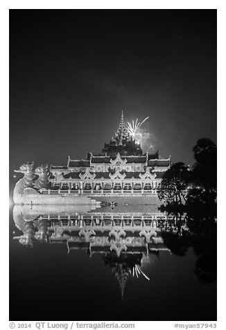 Karawek barge and 2014 new year fireworks. Yangon, Myanmar (black and white)