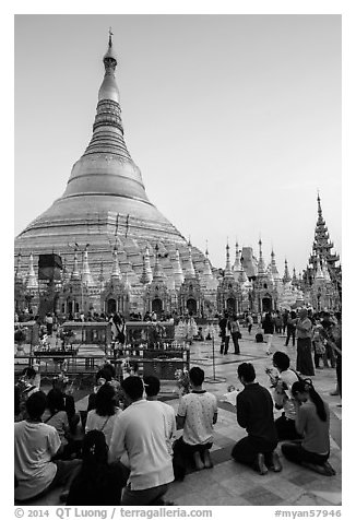 Praying from the Victory Ground, Shwedagon Pagoda, late afternoon. Yangon, Myanmar (black and white)