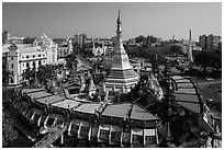 City Hall, Sule Pagoda, and Independence Monument. Yangon, Myanmar ( black and white)