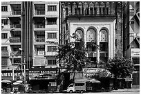 Modern and colonial-area facades in city center. Yangon, Myanmar ( black and white)