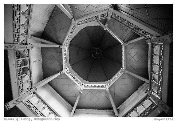 Looking up tower ceiling in colonial-area building. Yangon, Myanmar (black and white)