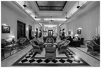 Lobby of the Strand Hotel. Yangon, Myanmar ( black and white)