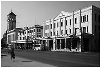 Strand Hotel and Yangon Port Authority. Yangon, Myanmar ( black and white)